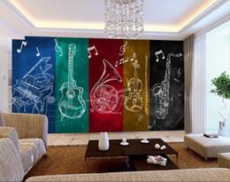 style de couleur de guitare Promotion Musique à la mode musique instrumentale bar fond mur couleur graffiti peints à la main mur papier salle de bal guitare grandes peintures murales