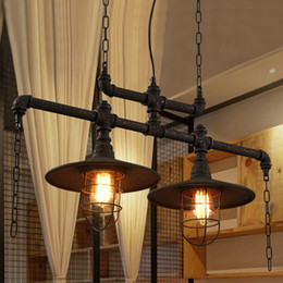 Wholesale Cloth Chandeliers - Pendant lights creative water pipes chandelier lamps personalized American European industrial vintage chandeliers cloth store cafe club bar