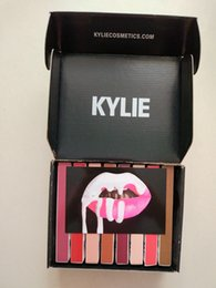 Wholesale Black Pencil Box - Kylie Lip full Kit with black box by kylie jenner Velvetine Liquid Matte Lipstick Lip Pencil Lip Gloss Set 8 color High quality