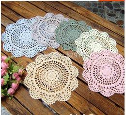 Wholesale Crochet Round Cloths - Wholesale- Mix different colors Round 20CM Crochet Flowers Lace placemats Cotton Coasters Decorated vase mat Furniture cover cloth 20 PCS