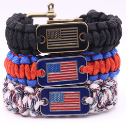 Wholesale Rope Rescue - Braided Outdoor Camping Rescue Paracord Bracelets With American National Flag Charm Stainless U Buckles Survival Bracelet