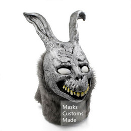 Wholesale Halloween Bunny Costume - Wholesale- Donnie Darko Frank the Bunny Mask Latex Overhead with Fur Adult Costume Cosplay Prop Scary Masks Halloween