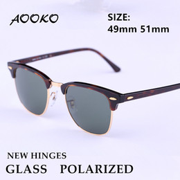 Wholesale Man Sunglasses Uv Protection Polarized - AOOKO New Hinges Glass Polarized Sunglasses Top Quality Master Men Sun Glasses Women Semi Rimless Retro UV Protection Sunglass 51mm 49mm