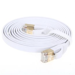 Cable ethernet de velocidad online-Venta al por mayor- Cables de alta velocidad 2M / 3M / 5M Aurum Flat CAT7 Flat UTP Ethernet Cable de red de Internet Parche RJ45 Conector de cable LAN