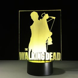 Noite leve on-line-The Walking Dead 3D Ilusão de Óptica Lâmpada Night Light 7 Luzes RGB DC 5 V USB de Carregamento 5a Bateria Dropshipping Frete Grátis
