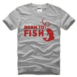Wholesale Mens Fishing Shorts - BORN TO FISH Funny Creative Custom Mens Men T Shirt T-shirt 2016 Short Sleeve O Neck Novelty Tshirt Tee Camisetas Masculina