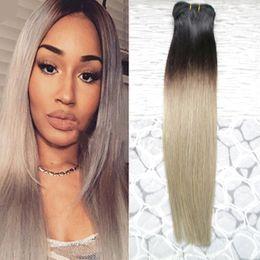 tessuto grigio ombre Sconti Ombre Hair 1B / Grigio Capelli Lisci Ombre Tessuto Brasiliano Capelli Umani Colore Grigio fasci doppia trama 1 Pezzo Solo