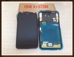 Wholesale One X Screen Lcd - Original Full Lcd Screen Display With Frame+Housing Back Cover +Loud Speaker For HTC ONE X+S728E ~Black