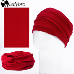 Wholesale Headbands Sports Solid Color - Wholesale-Ladybro 7 Color Solid Bandana Headband Women Seamless Tubular Outdoor Sport Bicycle Multi Functional Magic Tube Ring Scarf Black