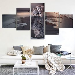 Wholesale Wholesale Wall Pictures - Newest Island 5 Panels Decorations Modern Canvas Prints Artwork Cat and Tiger Pictures Paintings Canvas Wall Art Painting Decor