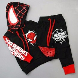 Wholesale 2t Hoodie - spider man hoodies pants Spring autumn new children's clothing costume spiderman suit spider-man costume Children's Sets