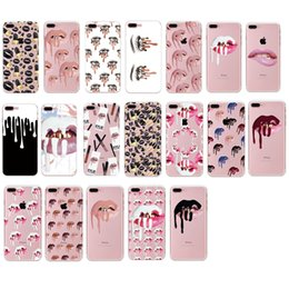 Wholesale Nail Polish Case Cover - Sexy Lips Makeup Nail Polish Print Case Black Pink Lip Cases Soft TPU Transparent Cover for iPhone 7 Plus 7plus 6 6s Plus 5 5s se