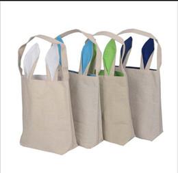 Wholesale Digital Print Handbags - Cotton Linen Easter Bunny Ears Basket Bag For Easter Gift Packing Easter Handbag For Child Fine Festival Gift 255*305*100mm