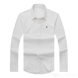 Wholesale polo neck dress - 2018 Wholesale cheap autumn and winter men's long-sleeved Dress shirt pure men's casual POLO shirt Oxford shirt social brand clothing