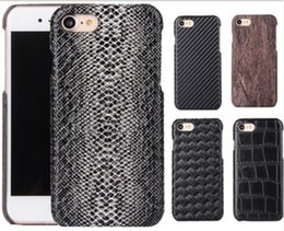 Wholesale Carbon Fiber Wood - Snake Wood Grain Carbon Fiber Case PU Leather Cover for iPhone 6 6S 7 Plus Samsung S7 edge Sony Xperia X Huawei P8 P9