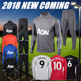 Wholesale Man United Top - 2018 POGBA Tracksuits Training KITS outfits Jacket TOP Pants 18 Soccer Ibrahimovic LUKAKU Soccer United Rooney HOT SALE JERSEYS cheap