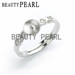 Wholesale Wholesale Sterling Jewelry Findings - 5 Pieces Ring Settings 925 Sterling Silver Finding for DIY Pearl Jewelry Making Heart Ring Blanks