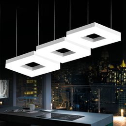 Wholesale G4 Led Lamp Indoor - Led square Arcrylic pendant lamps office study room commercial lighting Dining room Kitchen Bar Modern led lamp indoor lighting