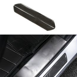 Углеродистая дверь автомобиля онлайн-Wholesale- 2pcs/lot Carbon Fiber Car Outside Door Sill Plate Guard Frame Left & Right Trim Car Styling Stickers Accessories