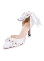 Wholesale Gorgeous Rhinestone Wedding Heels - Gorgeous 2017 Pearls Rhinestones Wedding Shoes White Satin Bridal Shoes With Ruffles Pointed Toes High Heels Women Shoes With Ribbon