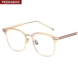 Wholesale High Quality Fashion Optical Frames - Wholesale- Peekaboo fashion metal gold frame glasses for men computer high quality silver gold rimmed glasses women optical square unisex