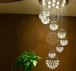 Wholesale Large Led Pendant Lights - Modern Pendant Lamp Chandeliers Crystal Staircase Light Large Crystal Light Crystal Ceiling Light Staircase Stairs Foyer Ceiling Lamp