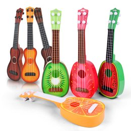 Wholesale Toy String Instruments - New Fruit Guitar Toys Children Learn Guitar Mini Fruit Play Musical Instruments Toys Handmade Carving Dapper Beginners Concerts Ukuleles Uke