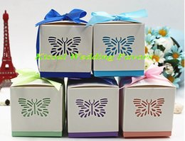 Wholesale Pink Baby Shower Favor Box - (100 Pieces Lot) Butterfly Laser cut favor box For Baby birthday Party Decoration gift box and Baby shower favor boxes