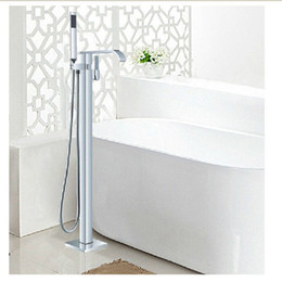 Wholesale Floor Mount Tub Filler Chrome - Wholesale And Retail Luxury Floor Mounted Tub Faucet Tub Filler Waterfall Spout Hand Shower Mixer Tap