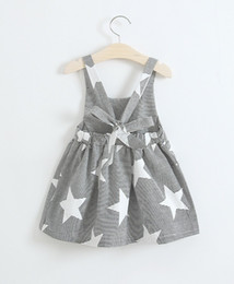 Wholesale Wholesale Kids Fashion Clothing - Girls star Stripe Suspender Dresses Exposed Back Summer 2017 Hot Sale Kids Boutique Clothing Little Girls Fashion Back Bow Suspender Dresses