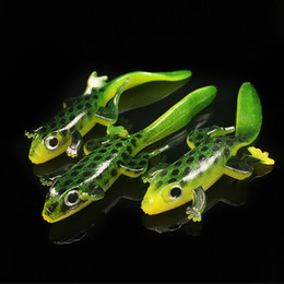 Wholesale Frog Accessories - 20pcs 7.5cm 3g Elliot Frog Silicone Lures Fishing Lure Soft Baits 3D Eyes Artificial Pesca Tackle Accessories