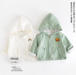 Wholesale Trench Kids Boys - Hot Selling Ins Baby Kids boy Girl 100% cotton trench coat long sleeve back with letter print cap baby kids coat 2 colors