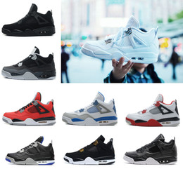 Wholesale Black Box Fire - 2018 Mens 4 4s Basketball Shoes Pure Money Alternate Motorsport Royalty White Cement Black cat Oreo Fire Red Sports Sneakers eur 41-47