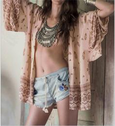 Wholesale Chiffon Skirt Womens - Womens dress bikini Chiffon Print Cardigan Beach Skirt