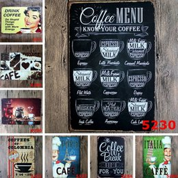 Wholesale Retro Vintage Metal Art - Bar Metal Paint Coffee Menu Vintage Tin Sign Bar Pub Shop Home Wall Decor Retro Metal Art Poster Decoration Painting 2017 New
