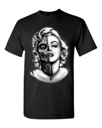 Wholesale Marilyn Monroe Face - Interesting Short Sleeve Half Zombie Face T-Shirt Marilyn Monroe Shirts Black Style Summer Comfortable 100% Cotton