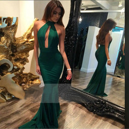Wholesale Girls Emerald Dresses - 2017 New Fashion Emerald Green Long Prom Dress Halter Floor Length Girls Cheap Graduation Banquet Evening Party Gown Custom Made Plus Size