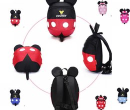 Wholesale School Bags Unisex - Kids Minnie Backpacks Anti Lost backpack Cartoon School Bags Baby Dotted Schoolbag Shoulder Bag Anti Lost Children Harnesses KKA2081