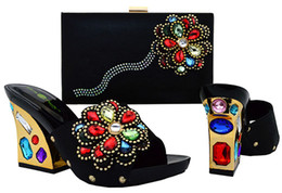 Wholesale Colorful Wedges Shoes - big colorful stone shoes italy fashion lady shoes original italy shoes with matching bags for wedding or party SB562 euro size38-43