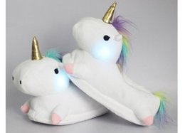 Wholesale Cute White Booties - 2017 Winter Warm Indoor Slippers Cute Cartoon Plush Unicorn Slippers for Grown Ups White Unisex Adult Home Slippers Flash