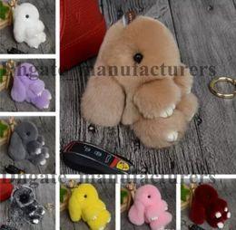 Wholesale Dead Dolls - New Rex Play Dead Rabbit Key chain 17 Colors Fur Car Backpack Rabbit Doll Pendant Fashion Toys Wallet Handbag Pendant Without Box