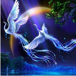 Wholesale Diy Picture Rooms - New 5d Diy Diamond Painting Animals Birds Lover Phoenix Cross Stitch Round Rhinestone Pictures Of Crystals Embroidery Patchwork h660