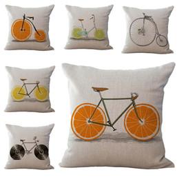 fronhas de laranja Desconto Verão Laranja Bicicleta Fronha Capa de Almofada De Linho De Algodão Lance Fronha sofá Cama travesseiro cobre o navio da gota 240451