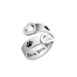 Wholesale paws heart - Dog Paw Print I will love you forever Heart Love Ring Adjustable Finger rings for Women Best Friend Pet Jewelry Drop Shipping