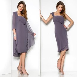 Wholesale women dress jackets - 2017 Simply Lilac Mother Of The Bride Dresses with Jackets New Ruffled Chiffon Plus Size Knee Length Women Summer Cocktail Evening Dress