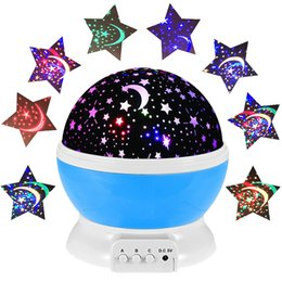 Wholesale Led Rotating Table Lamp - Wholesale- 2016 Hot Romantic Rotating LED Starry Sky Star Moon Projector Night Light Rotation Projection Lamps Kids Bedside Table Lamp