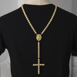 Wholesale Mens Rosaries - Iced Out Rosary Flower Necklace Link Bling AAA Rhinestone Gold Cross Jesus Head Pendant Mens Hip hop Necklace Chain