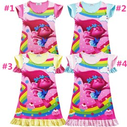 Wholesale Children Pajamas Princess - 4 Color Girls Trolls Poppy Branch princess dress New Children trolls cartoon short sleeves Pajamas dresses Kids clothes A08