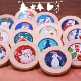 Wholesale Clothes For Boys China - wood brooch lapel pins handmade badge regards christmas theme, wooden and glass made pins for kids, boys and girls clip on clothes bags