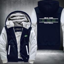 Wholesale Warm Men Zip Up Hoodie - New Design Texans Football Team Hoodies Zip Up Printing Pattern Coats Super Warm Thicken Fleece Men's Coat USA size NO.1 Blue
